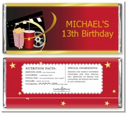 Movie Night - Personalized Birthday Party Candy Bar Wrappers