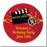 Movie Night - Round Personalized Birthday Party Sticker Labels