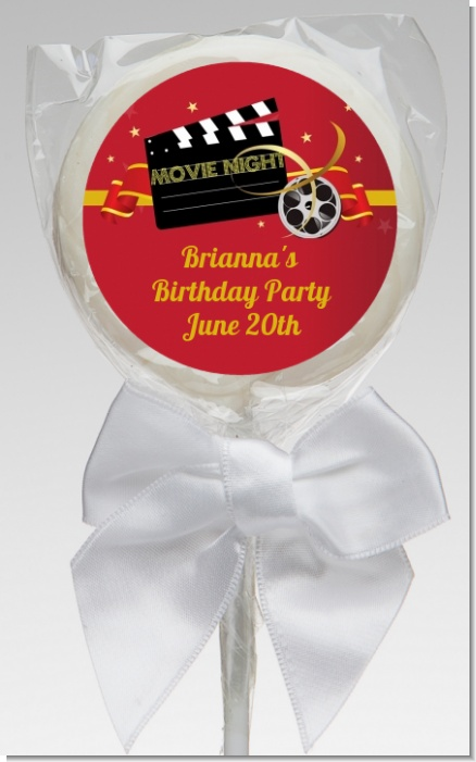 Movie Night - Personalized Birthday Party Lollipop Favors