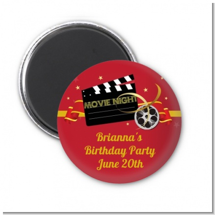 Movie Night - Personalized Birthday Party Magnet Favors