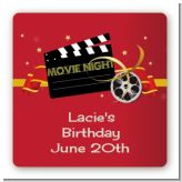 Movie Night - Square Personalized Birthday Party Sticker Labels