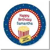 Movie Theater - Round Personalized Birthday Party Sticker Labels