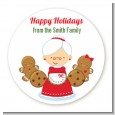 Mrs. Santa - Round Personalized Christmas Sticker Labels thumbnail