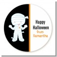 Mummy Costume - Round Personalized Halloween Sticker Labels thumbnail