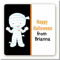 Mummy Costume - Square Personalized Halloween Sticker Labels