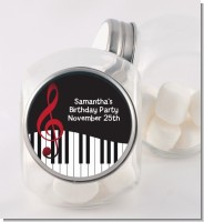 Musical Notes Black and White - Personalized Birthday Party Candy Jar