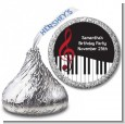 Musical Notes Black and White - Hershey Kiss Birthday Party Sticker Labels thumbnail