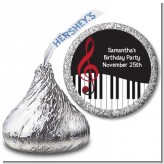 Musical Notes Black and White - Hershey Kiss Birthday Party Sticker Labels