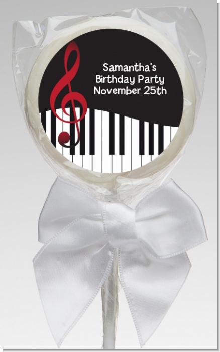 Musical Notes Black and White - Personalized Birthday Party Lollipop Favors