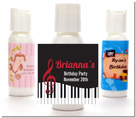Musical Notes Black and White - Personalized Birthday Party Lotion Favors