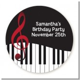 Musical Notes Black and White - Round Personalized Birthday Party Sticker Labels