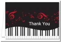 Musical Notes Black and White - Birthday Party Thank You Cards