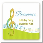 Musical Notes Colorful - Square Personalized Birthday Party Sticker Labels