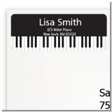 Musical Notes Black and White - Birthday Party Return Address Labels