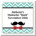 Mustache Bash - Square Personalized Birthday Party Sticker Labels thumbnail