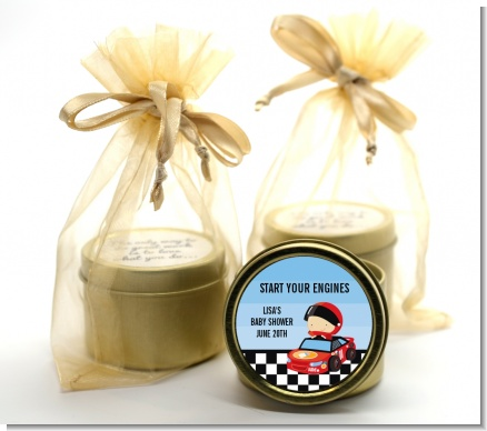 Nascar Inspired Racing - Baby Shower Gold Tin Candle Favors