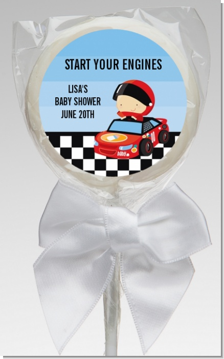 Nascar Inspired Racing - Personalized Baby Shower Lollipop Favors