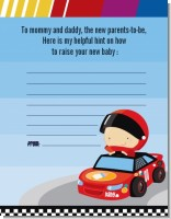 Nascar Inspired Racing - Baby Shower Notes of Advice