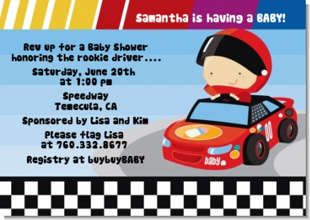 Nascar Inspired Racing - Baby Shower Invitations