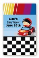 Nascar Inspired Racing - Custom Large Rectangle Baby Shower Sticker/Labels thumbnail