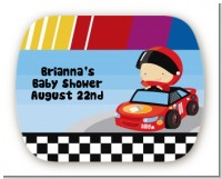 Nascar Inspired Racing - Personalized Baby Shower Rounded Corner Stickers