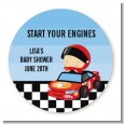 Nascar Inspired Racing - Round Personalized Baby Shower Sticker Labels thumbnail