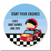 Nascar Inspired Racing - Round Personalized Baby Shower Sticker Labels