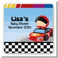 Nascar Inspired Racing - Square Personalized Baby Shower Sticker Labels thumbnail