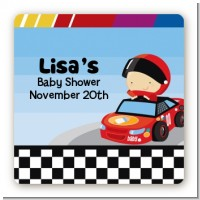 Nascar Inspired Racing - Square Personalized Baby Shower Sticker Labels