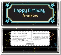 Neon Blue Glow In The Dark - Personalized Birthday Party Candy Bar Wrappers