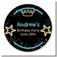 Neon Blue Glow In The Dark - Round Personalized Birthday Party Sticker Labels thumbnail