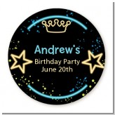 Neon Blue Glow In The Dark - Round Personalized Birthday Party Sticker Labels