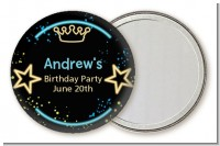 Neon Blue Glow In The Dark - Personalized Birthday Party Pocket Mirror Favors