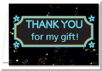 Neon Blue Glow In The Dark - Birthday Party Thank You Cards
