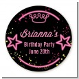 Neon Pink Glow In The Dark - Round Personalized Birthday Party Sticker Labels thumbnail