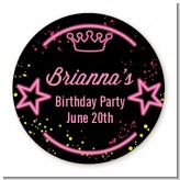 Neon Pink Glow In The Dark - Round Personalized Birthday Party Sticker Labels