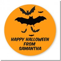 Neon Orange Halloween Theme - Round Personalized Halloween Sticker Labels