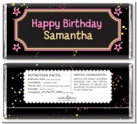 Neon Pink Glow In The Dark - Personalized Birthday Party Candy Bar Wrappers
