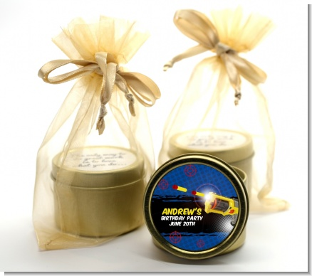 Nerf Gun - Birthday Party Gold Tin Candle Favors