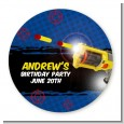 Nerf Gun - Round Personalized Birthday Party Sticker Labels thumbnail