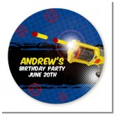 Nerf Gun - Round Personalized Birthday Party Sticker Labels