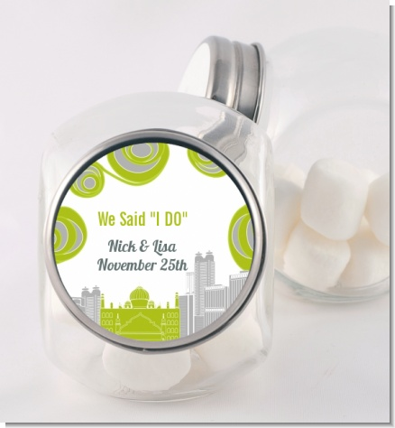 New Jersey Skyline - Personalized Bridal Shower Candy Jar