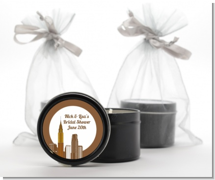 New York City Skyline - Bridal Shower Black Candle Tin Favors