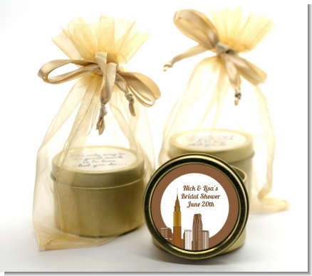 New York City Skyline - Bridal Shower Gold Tin Candle Favors