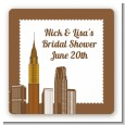 New York City Skyline - Square Personalized Bridal Shower Sticker Labels thumbnail