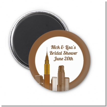 New York City Skyline - Personalized Bridal Shower Magnet Favors