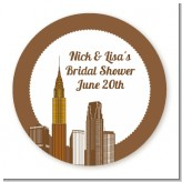 New York City Skyline - Round Personalized Bridal Shower Sticker Labels