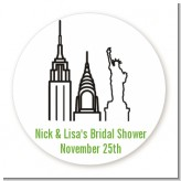 New York City - Round Personalized Bridal Shower Sticker Labels