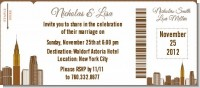 New York City Skyline - Bridal Shower Destination Boarding Pass Invitations