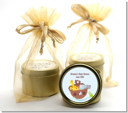 Noah's Ark - Baby Shower Gold Tin Candle Favors